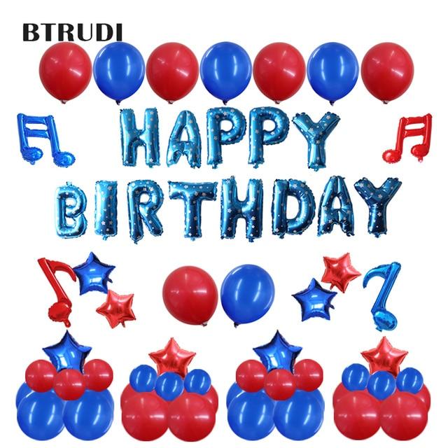 55pcs Set Birthday Aluminum Film Latex Balloon Party Decorations Kid Pink Blue Baby