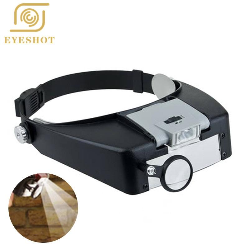 SICHTWEITE Stirnband 1.5X/3X/6.5X/8X Lupe Kopf Lupe Linse Lupe mit LED-Licht für Handwerk/reparatur