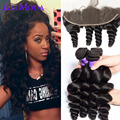 Malaysian Virgin Hair Loose Wave 3/4 Bundles With Lace Frontal Malaysian Loose Wave With Closure 13x4 Pre Plucked Lace Frontall