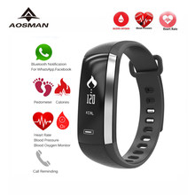AOSMAN M2 sport heart rate blood pressure monitor watch Smart bracelet relogio cardiaco esportivo pk xiomi mi band 2 5 clock(China)