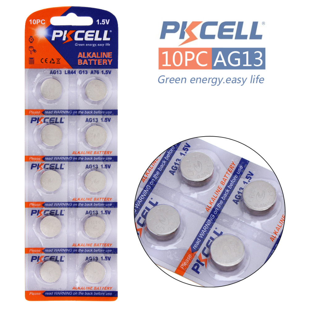 10pcs! 145mAh 1.5V AG13 LR44 A76 Battery Akaline Button Cell Coin Battery for Watch Toy Calculator