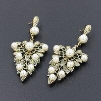 Antike Goldfarbe Frauen Perlen-ohrringe Große Stellux Strass Blätter Baumeln Erklärung Pendientes 925 Sterling Silber Nadeln
