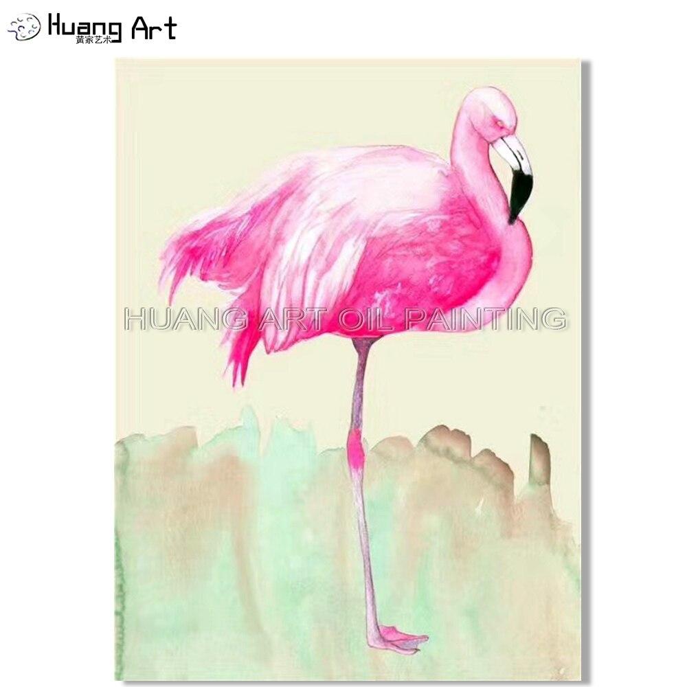 Peinture à l'huile de flamant rose moderne de haute qualité sur toile colorée Animalia Flamingo peinture décorative
