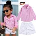 2016 Niñas Ropa de Verano Traje shirt + shorts + belt 3 unids/set camisa de rayas de color rosa Niños traje traje traje de moda Envío gratis