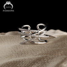 New Fashion Silver Plate Open Wide Adjustable Ring Hollow out Multilayers CZ Diamond Ring For Women Bague Anillos Rings Jewelry