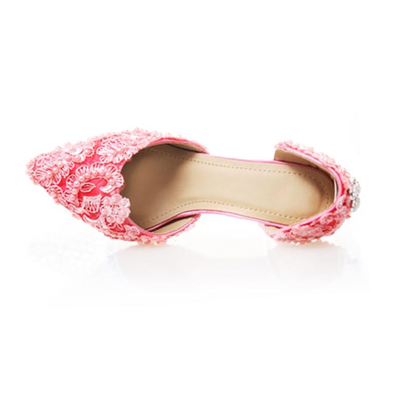 Scarpe Donna Decor Rosa 10cm Partito Signore Punta Cristallo Tacchi Della Stiletto Del Di Pink A Merletto Pompe Da Perla Alti Sposa Delle Heel 9 576nxBIwqF
