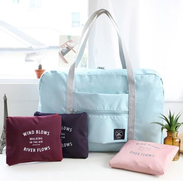 586244342c67 US $4.98 16% OFF|Women Men Large Capacity Folding Duffle Bag Waterproof  Nylon Travel Bags Organizer Packing Cubes Luggage Girl Weekend Bag-in  Travel ...