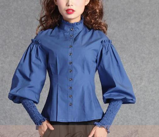 Gothic Vittoriane Splice Lolita A Women Shirt Shirt Maniche white Ufficio Top Vintage Femmina Camicia Donne Costume Blue Di Cotone Reale Corte Lanterna Camicetta zd4wxqzn6F