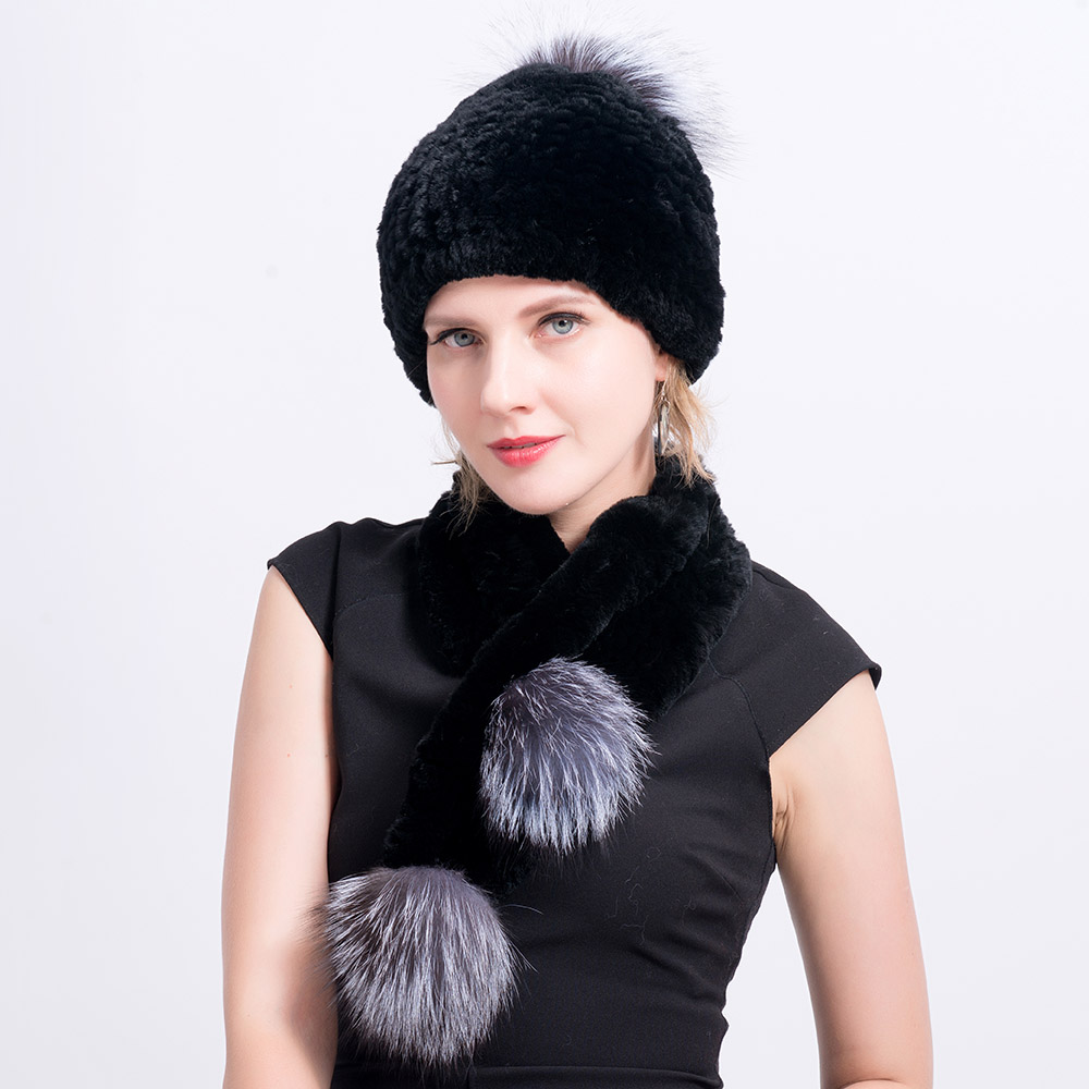 Rex rabbit fur hat scarves pompom  (28)
