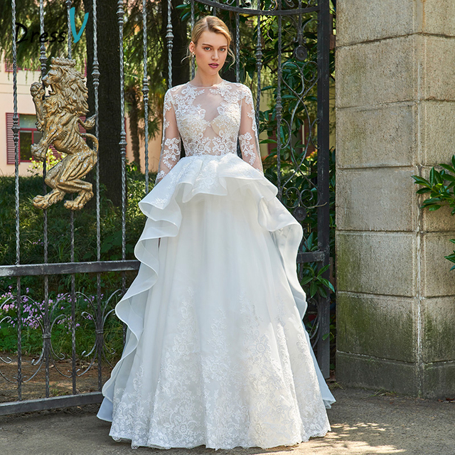 Dressv Long Wedding Dress Floor Length Long Sleeves A line Appliques ...