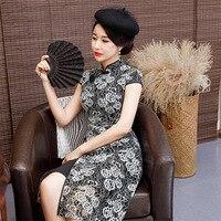 Black Lace Knee Length Vintage Ladies Chinese Style Dress Classic Qipao Stage Show Elegant Female Mandarin Collar Cheongsam