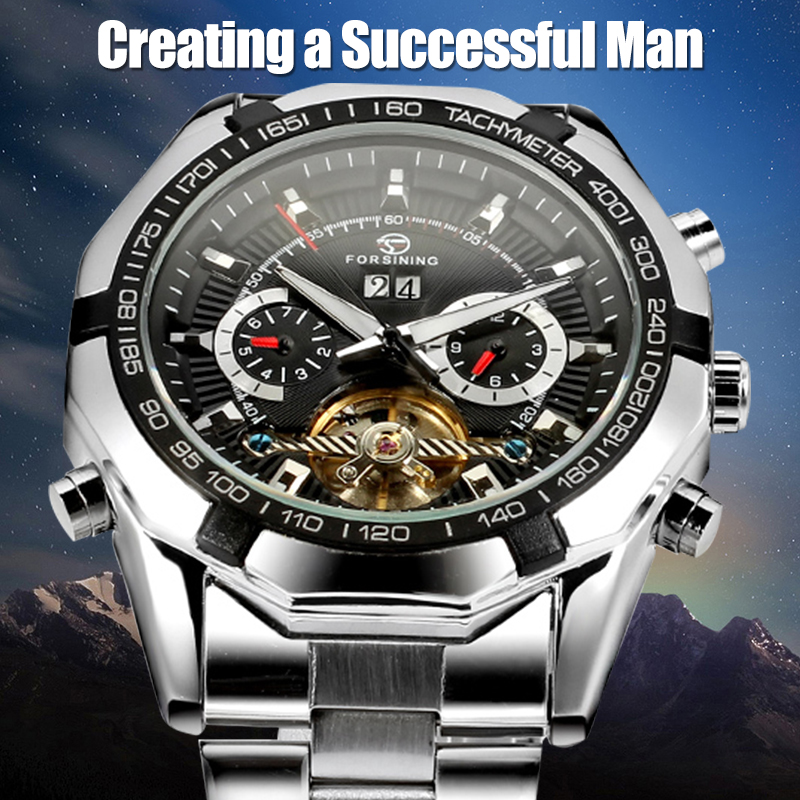 Forsining Men's Watch Luxury Automatic Stainless Steel Bracelet Mechanical Wristwatch Color Black ultra luxury 2 3 5 modes german motor watch winder white color wooden black pu leater inside automatic watch winder