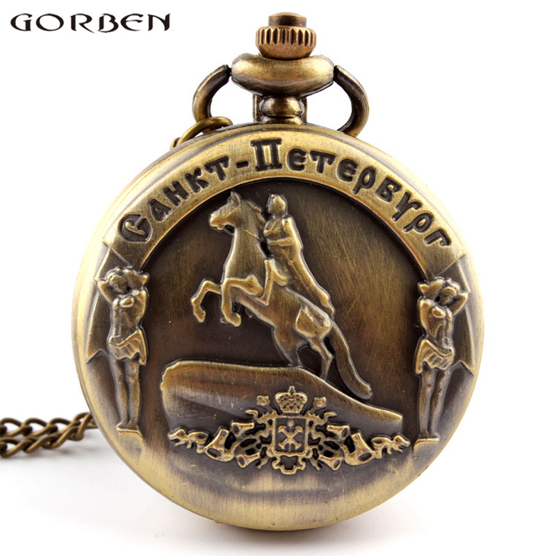 2017 New Arrival Gorben Watch Bronze Pocket Watch St. Petersburg Knight Antique Quartz Movement Watches With Necklace Long Chain