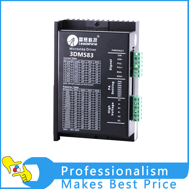 High Quality Leadshine 2-phase Digital Stepper Drive 3DM583 work 24V-50 VDC out 2.1A to 8.3A 2pcs lot leadshine 2 phase high precision stepper drive am882