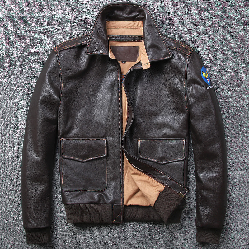 Free shipping.Brand A 2 style leather coat,plus size mens 100% genuine leather Jackets,classic Bomber flight jacket
