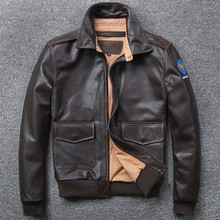 Free shipping.Brand A-2 style leather coat,plus size mens 100% genuine