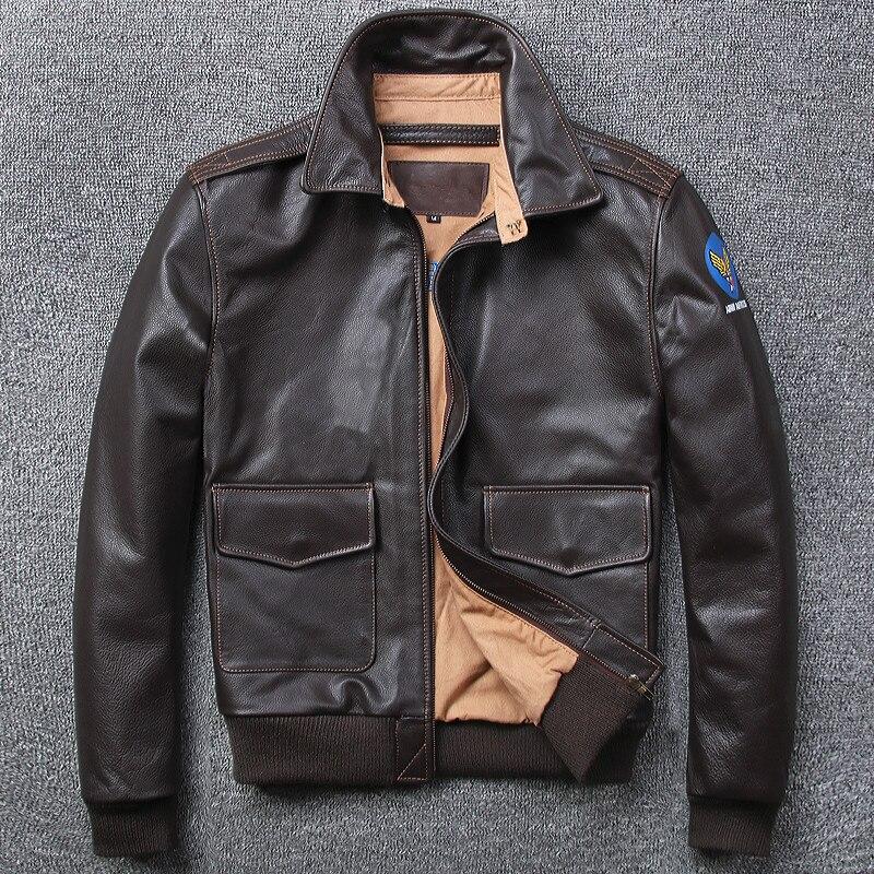 Livraison gratuite. marque A-2 style en cuir manteau, plus la taille hommes 100% véritable Vestes en cuir, classique Bomber vol veste
