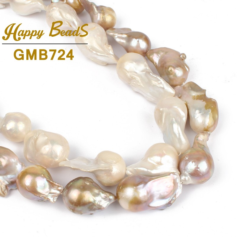 14 28MM 100% Natural Big Irregular Baroque Pearl Freshwater White purple High Quality Loose Beads Strands for Women Necklace