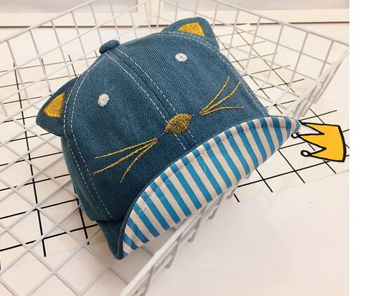 50pcs/lot fedex fast free shipping korean style children cartton cat cap girl boy casual cat sun cap adjustable cap
