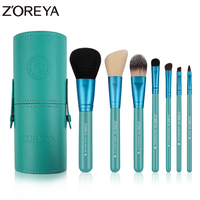 Zoreya Brand New Arrival 7Pcs Natural Goat Hair Portable Makeup Brushes Kit Colorful Powder Foundation Lip