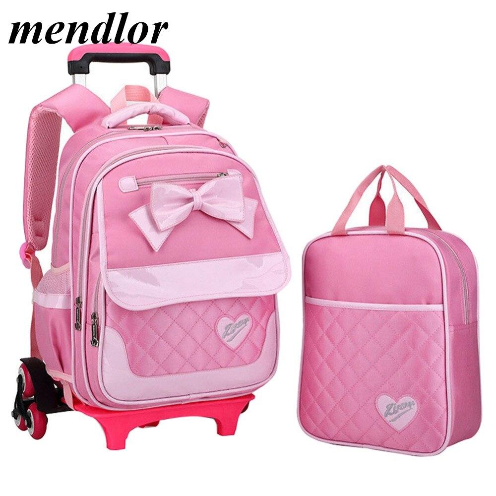 Beaux enfants dessin animé mignon noeud papillon sacs d'école pour les filles mode voyage chariot sac sacs à dos sac à roulettes école sac à dos