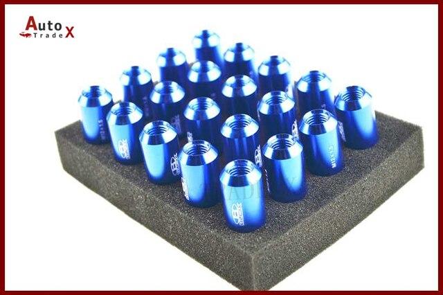20 unids Blox rueda compite con las tuercas L : 60 mm P : 12 x 1.5 7075 de Color azul de aluminio