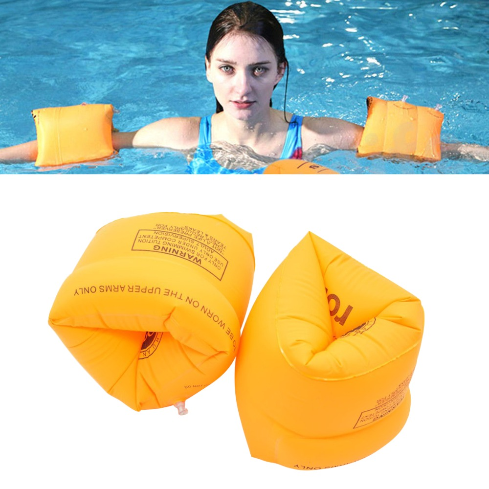 1Pair Inflatable Pool Beach Swimming Aid Arm Bands Ring Float Kids Adult Swim Learning Supplies Arm Bands PVC Floatation Sleeves