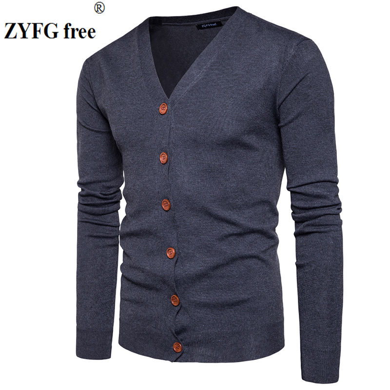 Men Button Cardigans Sweaters 2019 New Casual Men Solid Pullover V Collar Thick Cashmere Sweater Outerwear Clothing EU/US Size(China)