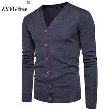 Мужские кардиганы на пуговицах свитера Новые повседневные мужские однотонные пуловеры V воротник толстый кашемировый свитер верхняя одежда EU/us размер
