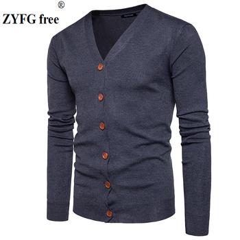 Mężczyźni przycisk swetry rozpinane swetry 2019 nowy Casual męskie stałe swetry V kołnierz gruby sweter z kaszmiru sweter odzież wierzchnia odzież ue usa rozmiar tanie i dobre opinie Na co dzień Poliester COTTON Komputery dzianiny V-neck Pełna Sweatercoat Pojedyncze piersi STANDARD Cienka wełna X20170825-1