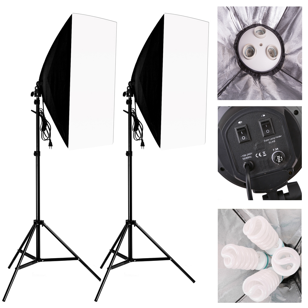 New 2016 Photography Softbox Light Kit Photo Equipment 2PCS*2M Tripod Light Stand + 2PCS*Softbox +2PCS* Lamp Holder