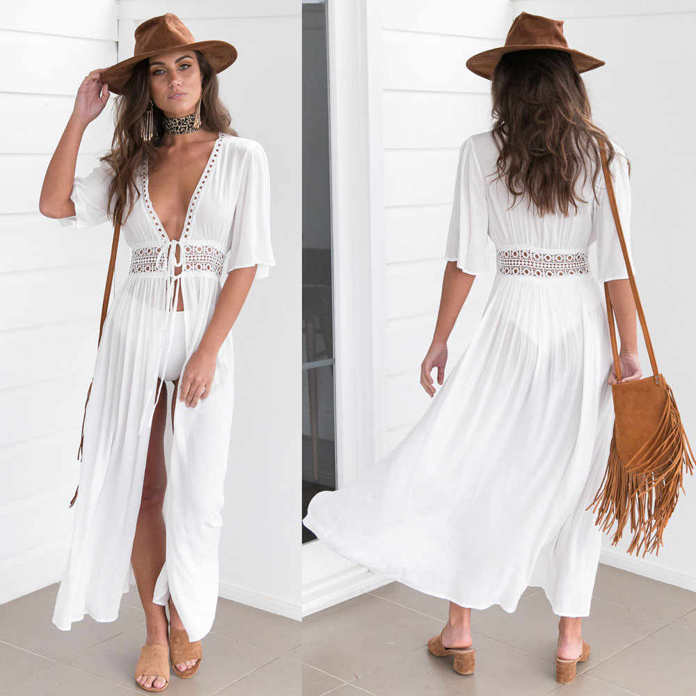 Sexy Ladies Women Solid White Cover up Beach Dress Swimwear Chiffon Beachwear Bathing Suit Summer Holiday Kimono Cardigan#50