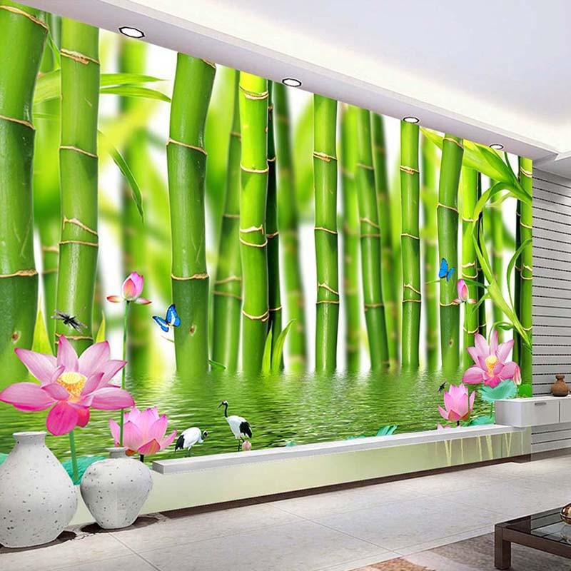 Custom 3D Photo Wallpaper For Walls 3 D Lotus Flower Bamboo Forest Wall Painting Living Room Bedroom Mural Wallpaper Home Decor custom baby wallpaper snow white and the seven dwarfs bedroom for the children s room mural backdrop stereoscopic 3d