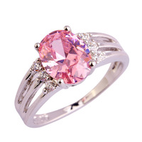 lingmei Wholesale Fashion Lady Pink Topaz White Sapphire 925 Silver Ring Size 6 7 8 9 10 Love Style Women Jewelry Free Shipping