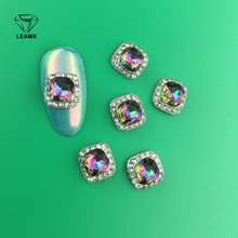 LEAMX 10pcs New Fashion 3D AB White Color Crystal Horse Eyes Gem Glitters Rhinestone DIY Nail Art Tips Decoration Manicure Wheel
