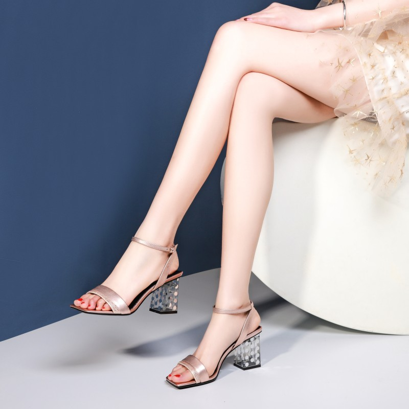 Women Sandals 2019 Leahter Shoes Summer Thick Heel Sandals Bling Ankle Strap High Heels Shoes in High Heels from Shoes