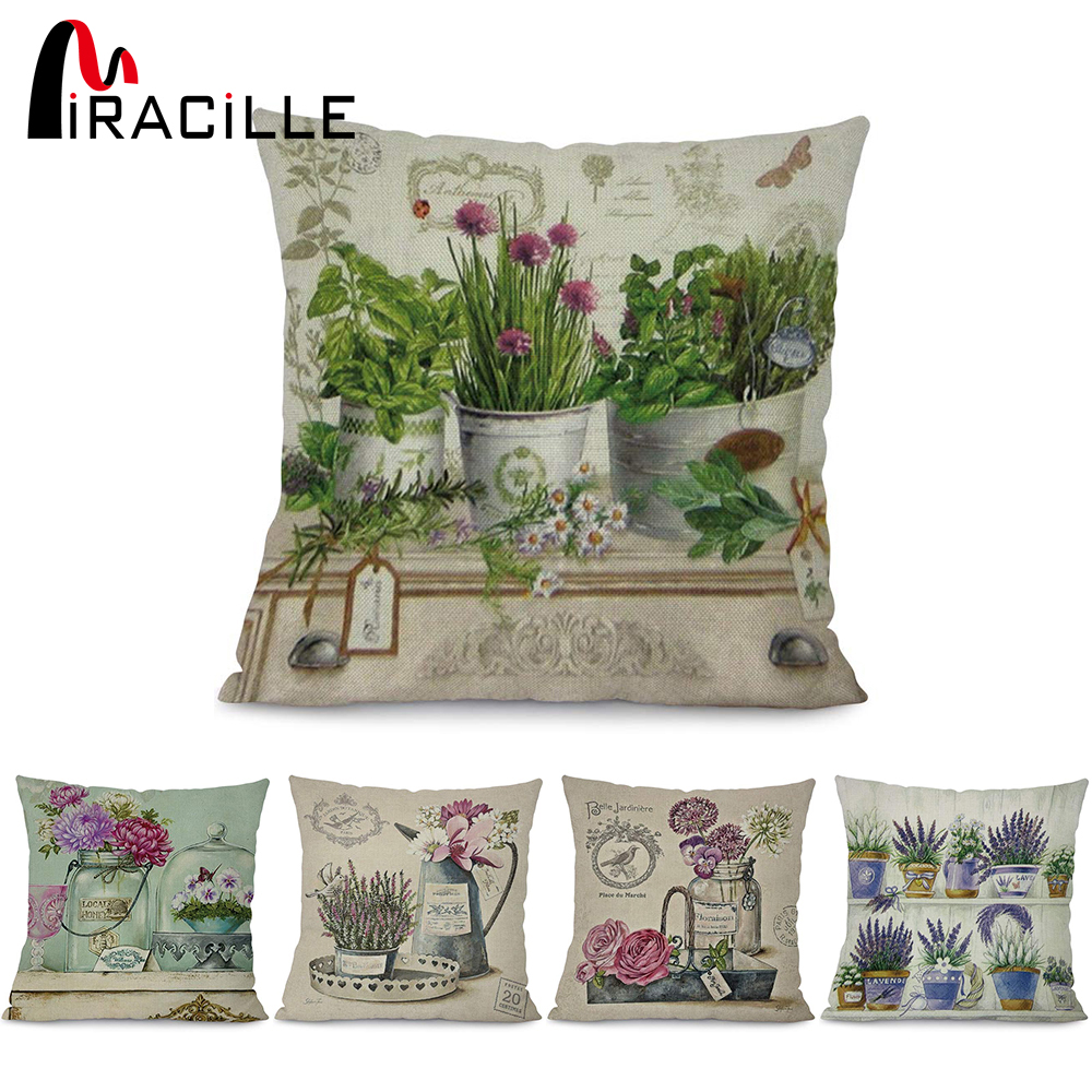 Miracille cotton linen square 18 flower vase green plants - Fundas cojines sofa ...