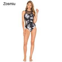 1e334dcdf6469 Zosmiu Women 2018 Black Lace Flower Print One Piece Swimsuit Summer Sexy