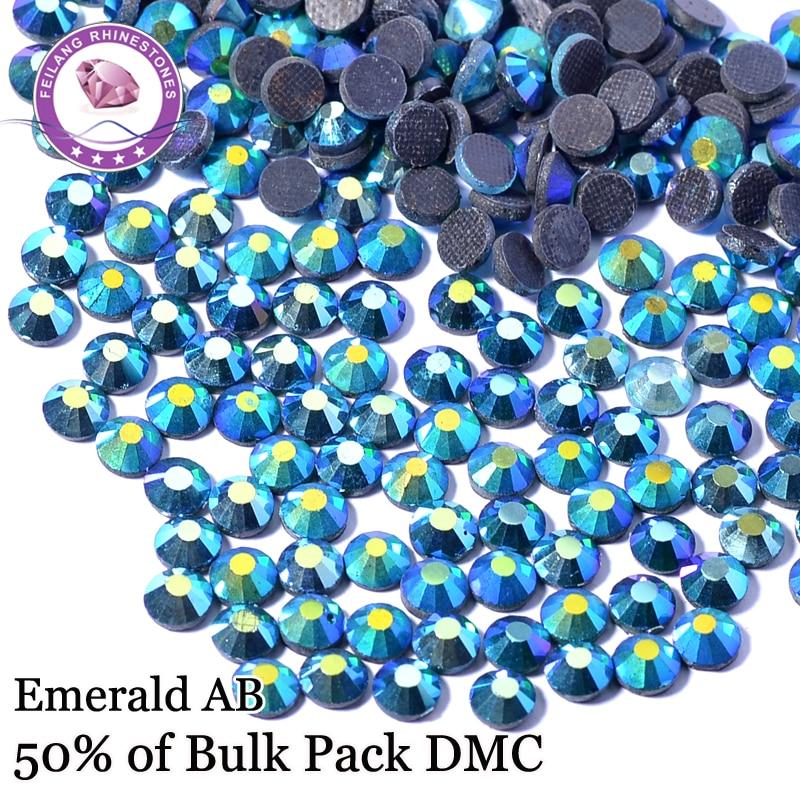 SS6 SS30 High Quality Emerald AB Flatback Strass Stones DMC Hotfix Rhinestones For Clothing DIY Decoration Iron On Stones