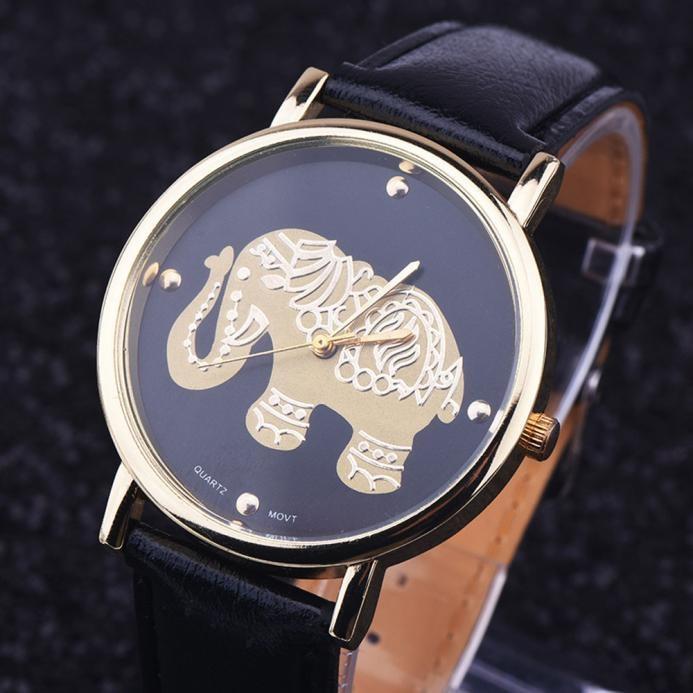 2018 New Beautiful Fashion Women Watch Lady Girls Casual Elephant Printing Pattern Weaved Leather Quartz Dial Watch Clocks B70