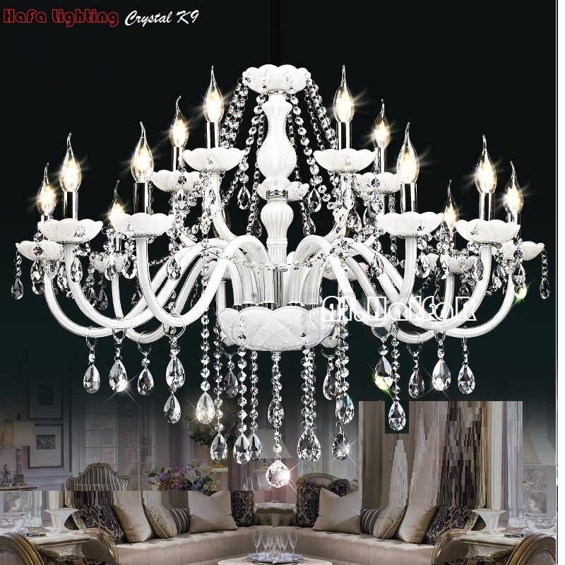 Modern White Crystal Chandelier Lights Lamp Chandeliers For bedroom Living room Fixture Crystal Light Lustres de crista lighting-in Chandeliers from Lights & Lighting