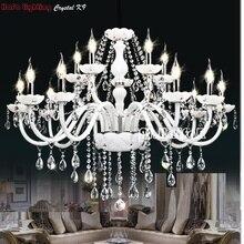 Moderno Bianco Lampadario di Cristallo Illumina la Lampada Per La camera da letto soggiorno Apparecchio di illuminazione di Cristallo di Luce Lustri de crista