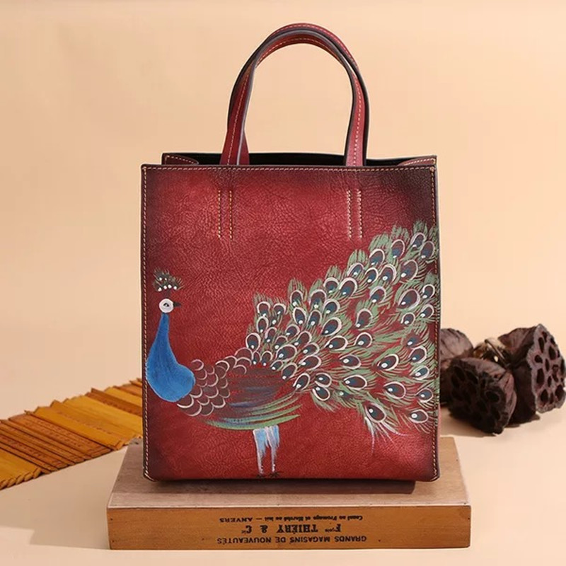 Vintage Handmade Peacock Bags Square Box Shape Tote Bag Real Leather Tote Bag Paris Brand Designer Handbag France Fashion Bag square pu tote bag
