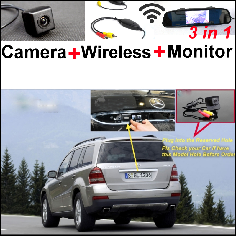 3in1 Special WiFi Camera + Wireless Receiver + Mirror Monitor Backup Parking Rear View System For Mercedes Benz GL X164 wireless pager system 433 92mhz wireless restaurant table buzzer with monitor and watch receiver 3 display 42 call button