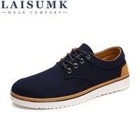 2018 LAISUMK Big Size Breathable Mens Shoes Sales Lace Up Canvas Shoes Luxury Brand Men Shoe