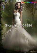 2015 Custom Made Vestido De Casamento Ivory Satin Organza Tulle Flowers Strapless Mermaid Lace Wedding Dress
