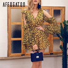 02ea2655 Affogatoo Sexy v neck leopard print jumpsuits women Cold shoulder ruffle  summer short rompers Casual holiday beach playsuit 2019. US $16.99 / piece  ...