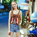 [XITAO new 2016 summer European style women printing cartoon sleeveless comfortable tanks casula female O-neck tops,  MF-003