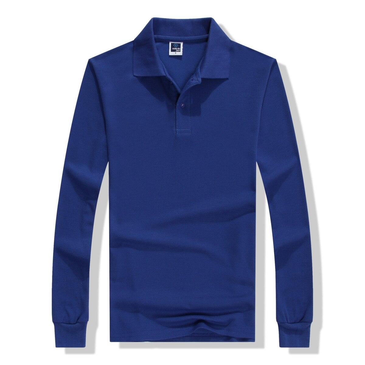 2018 Autumn Breathable Cotton Slim Polo Shirts Men Long Sleeve Camiseta Fashion Collar Fitness Solid Male Embroidery Print Logo