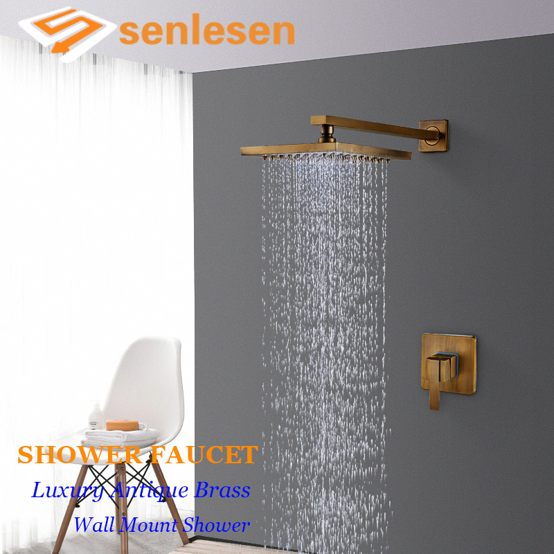 Senlesen Antique Brass Shower Faucet Brass Single Handle Hot and Cold Water Mixer Tap Wall Mount Para Bathroom Shower china sanitary ware chrome wall mount thermostatic water tap water saver thermostatic shower faucet
